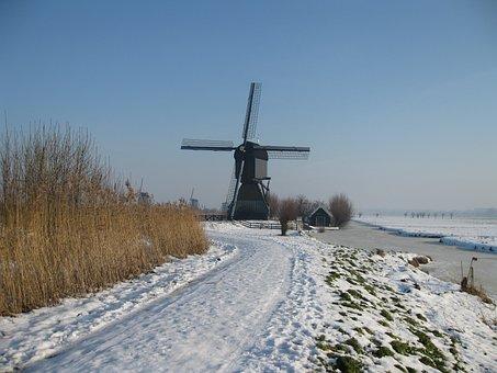 Kinderdijk, Holland, Molina, Winter Landscape