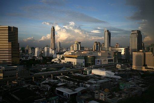 Bangkok, Thailand, Sky, Clouds, Skyscrapers, Buildings