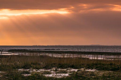 Sunset, North Sea, Spiekerook, Sunbeam, Sea
