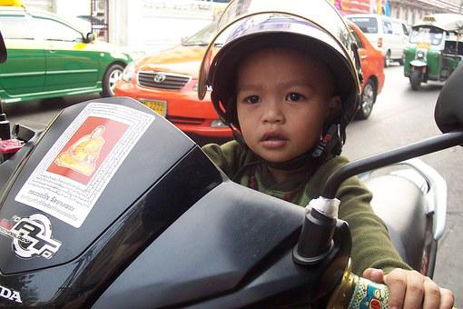 Thailand, Bangkok, Asia, Child, Motorcycle