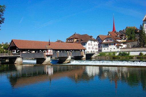 Switzerland, Bremgarten, River, Water, Bank, Homes