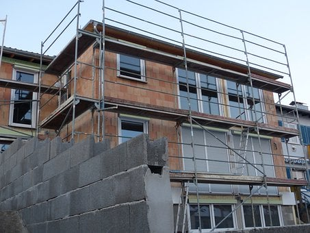 Site, House Construction, Build, Scaffold, Home, Shell