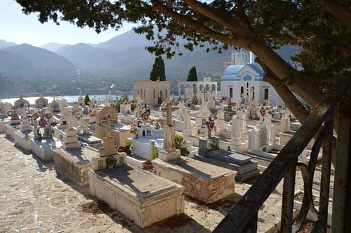 Cemetery, Yard, Chalki, Greece, Grave, Cross, Sea