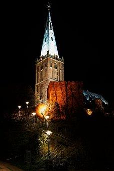Church, Night Heinsberg, Light, Lights, Cathedral