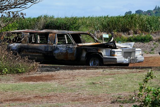 Kahului, Maui, Limousine, Luxury, Burned, Fire, Car