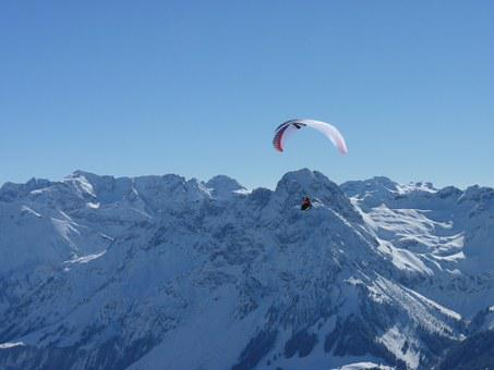 Paragliding, Paraglider, Winter, Fly, Sport, Air Sports