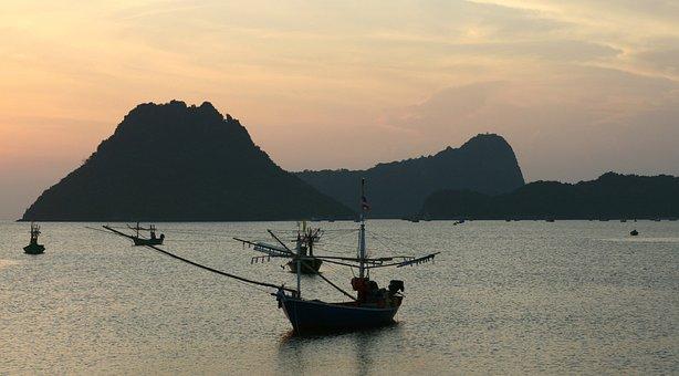 Thailand, Harbor, Dawn, Sunrise, Seashore, Ocean, Boat