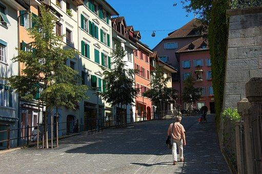 Switzerland, Bremgarten, Street Scene, Summer, Sunshine
