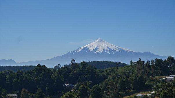 Snow, Villa Rica, Volcano, Volcan, Chile