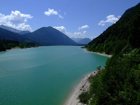 Upper Bavaria, Walchensee, Lake, Panorama, Water