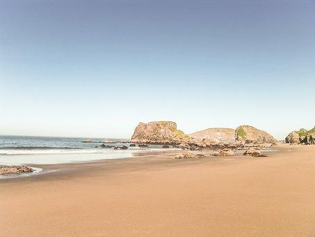 Sandy Beach, Sand, Ocean, Coastline, Shore, Beach, Calm