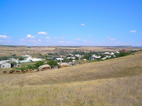 Landscape, Crimea, Sky, Clouds, Village, Houses, Homes