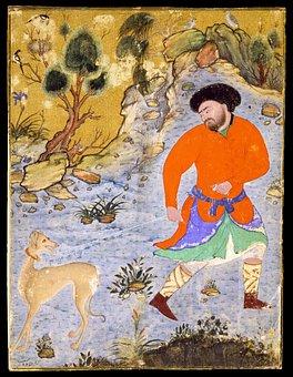 Painting, Drawing, Man, Dog, Saluki, Islam