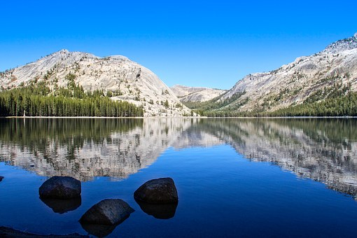Lake, Mirroring, Tenaya Lake, Usa