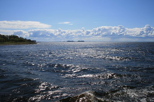 Water, Sea, Shimmer, Waves, Tip Of Land, Sky, Clouds