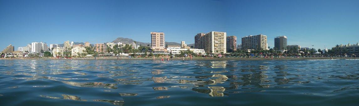 Spain, Sea, Skyline, Malaga, Benalmadena