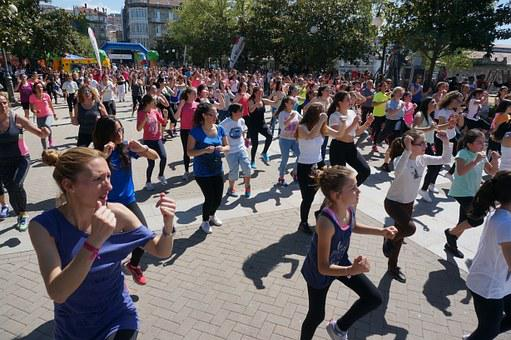 Fitness, Aerobics, Plaza, Public, People, Dance