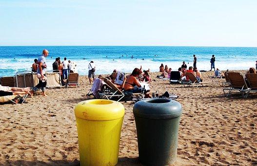 Beach, Sea, Barcelona, Barceloneta, Sand, Trash
