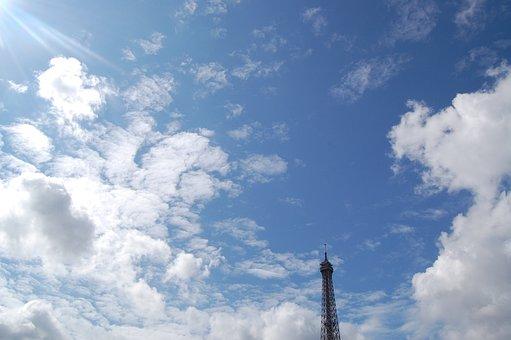 Eiffel Tower, Top, Point, Sky, Clouds, Blue, Paris