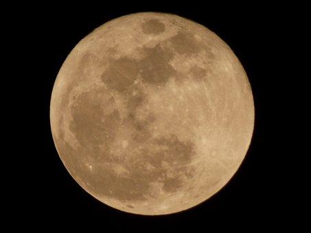 Full Moon, Rising, Night Sky, Dark