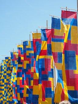Flags, Blow, Flutter, Commemorative Event, Blue, Red