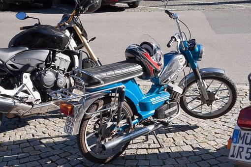 Moped, Zündapp, Two Wheeled Vehicle, Blue, Helm