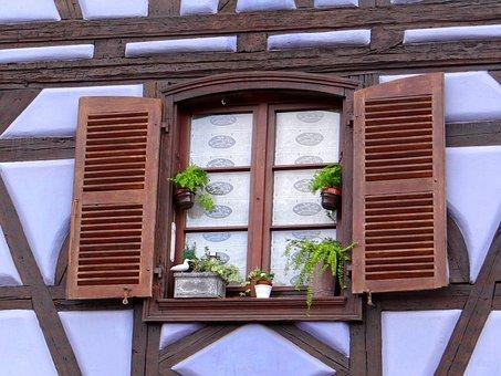 Window, Shutters, Truss, Flowerpot, Brown, White