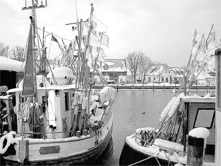 Harbor, Boats, Winter, Frozen, Snowclad, Snow, Snowfall