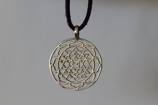 Sri Yantra, Lucky Charm, Necklace