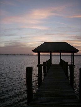 Evening, Bridge, River, Sunset, Florida