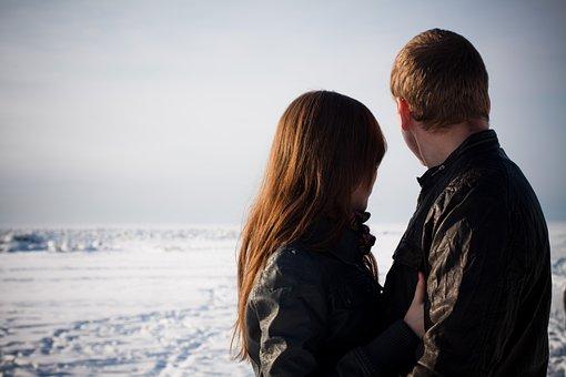 Sweethearts, Love, Winter, Gulf Of Finland, Couple