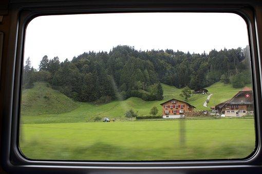Train, Window, Bls, Alpine, Mountains, Home