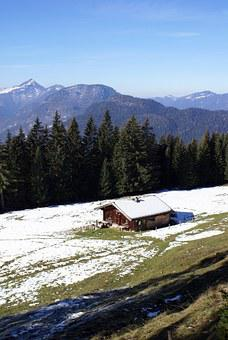 Mountain Hut, Predigtstuhl, Alpine, Snow, Mountains