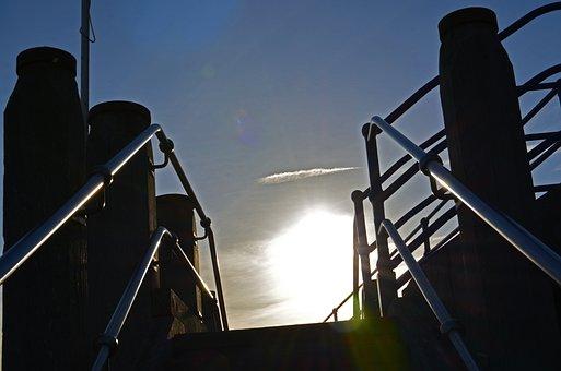 Steps, Sunlight, Rails, Sky, Shade, Blue Sky