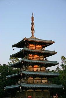 Epcot, Japanese, Tower, Pagoda, Disney, Sunset