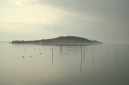 Lake, Trasimeno, View, Fog, Island