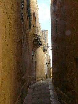 Alley, Old Town, Mdina, Malta, Houses Gorge, Lane