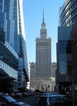 Warsaw, Palace Of Culture And Science, Blue, Poland