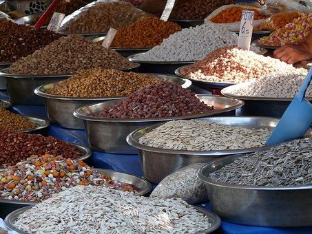 Grains, Sunflower Seeds, Mix, Market, Selection