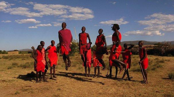 Maasai Tribe, Kenya, Sky, Clouds, Men, Jumping, Dancing
