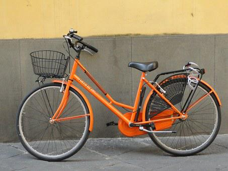 Bike, Orange, Street, Travel