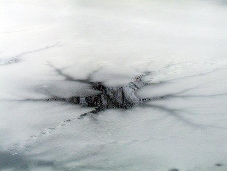 Hole, Ice, Pond, Winter, Frozen, Cracked, Ice-hole