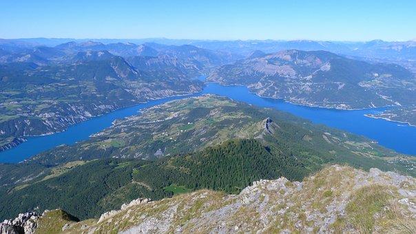 Landscapes, Lake Of Serre Ponçon, Mountain, Alps