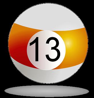 Billiard Ball, Orange 13, Pool, Billiard, Game, Striped