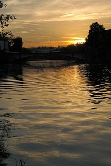 Sunset, Evening, Water, Danube, Ulm, River