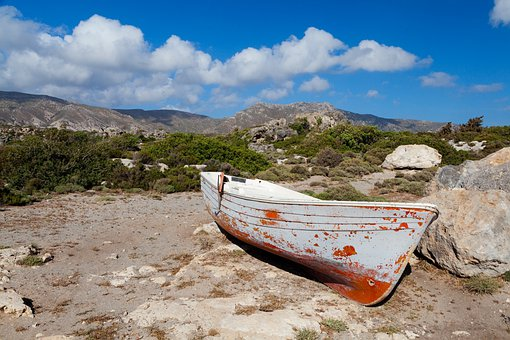Boat, Dry, Land, Landscape, Old, Wooden, Environment