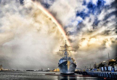 Pearl Harbor, Hawaii, Rainbow, Ship, Navy, Military