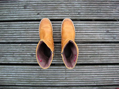 Yellow Boots, Wood, Go, Shoes