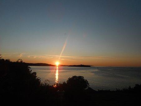 Sunrise, Ocean, Sea, Shoreline, Island, Maine, Summer