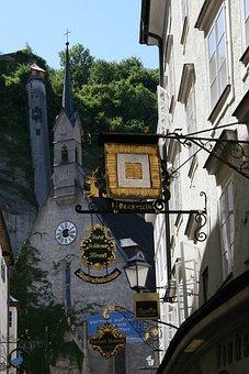 Salzburg, Austria, City, Street Signs, Black, Gold, Old